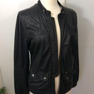 Joie Lambs Leather Black Jacket Butter Soft Sz L